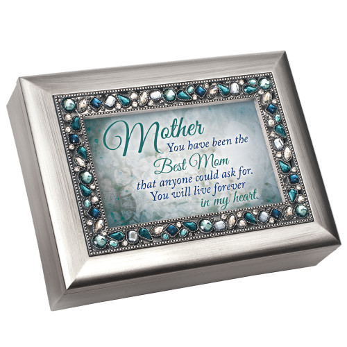 "8"" Silver Colored and Blue Mom's Love Themed Rectangular Music Box - IMAGE 1"