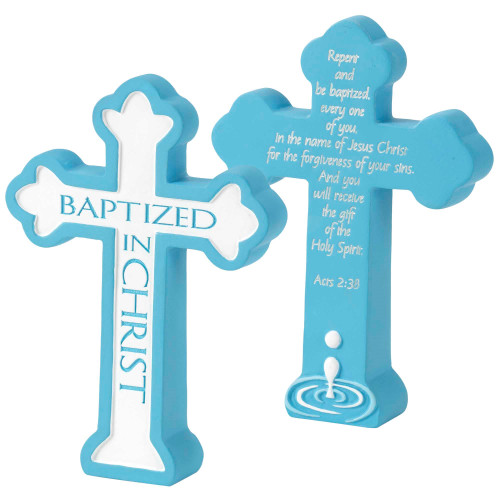 """Baptized In Christ Acts 2:38 Blue And White Tabletop Resin Cross 5"""" x 3"""" - IMAGE 1"""