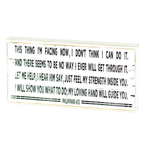 """8"""" White and Black Inspirational Philippians 4:13 Tabletop Plaque - IMAGE 1"""