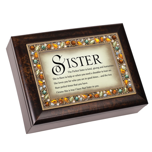 """8"""" Brown and Ivory Rectangular Framed Musical Box - IMAGE 1"""
