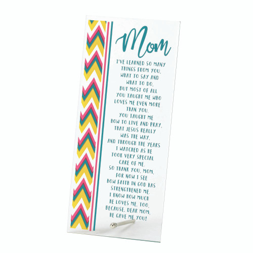 """10"""" White and Yellow Mom Religious Tabletop Plaque - IMAGE 1"""