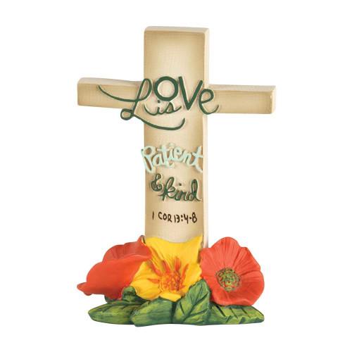 "Love Is Patient 1 Corinthians 13:4-8 Floral Tabletop Resin Cross 4"" x .5"" - IMAGE 1"