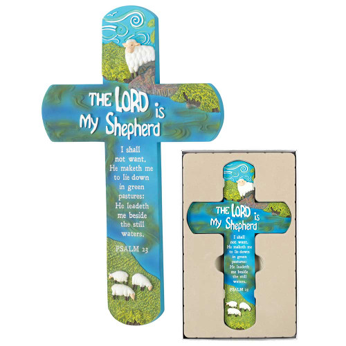 """11.5"""" Blue and Green Religious Wall Cross with Biblical Quotes - IMAGE 1"""