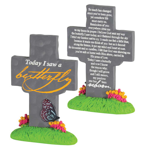 """5.5"""" Gray and Yellow """"Today i saw a butterfly"""" Engraved Cross Tabletop - IMAGE 1"""