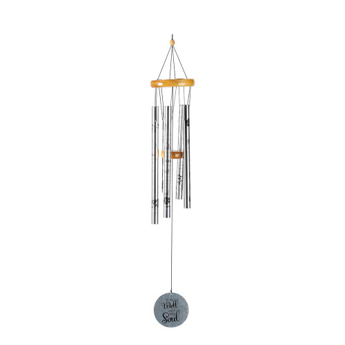 """42"""" Silver Colored """"It is Well with my Soul"""" Windchime Hanging - IMAGE 1"""