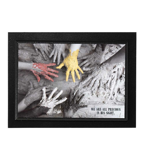 """We Are Precious In His Sight Red Yellow Black and White Painted Hands Wood Wall Plaque 8"""" x 6"""" - IMAGE 1"""