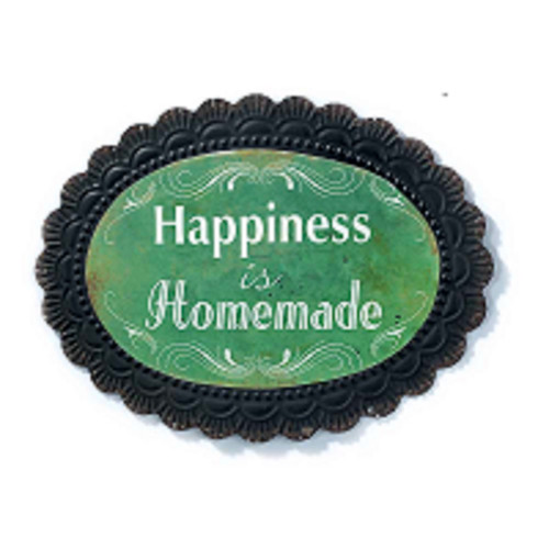 """18"""" Green """"Happiness is Homemade"""" Oval Wall Plaque - IMAGE 1"""