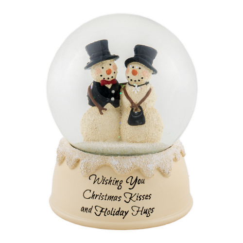 """5.25"""" Beige and Black Couple Snowman Water Globe Figurine Tabletop - IMAGE 1"""