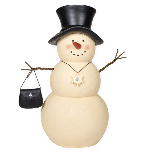"30"" Black and White Snowman Woman with Handbag Outdoor Figurine - IMAGE 1"