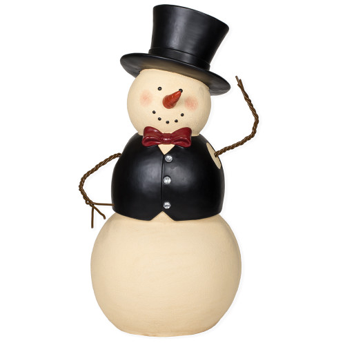 """32"""" Ivory and Black Tipping Hat Oversized Snowman Figurine - IMAGE 1"""