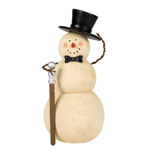 """8"""" Ivory and Black Tipping Hat Snowman with Cane Tabletop Figurine - IMAGE 1"""
