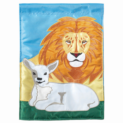 """Lion and Lamb Peaceful Garden Flag 18"""" x 13"""" - IMAGE 1"""