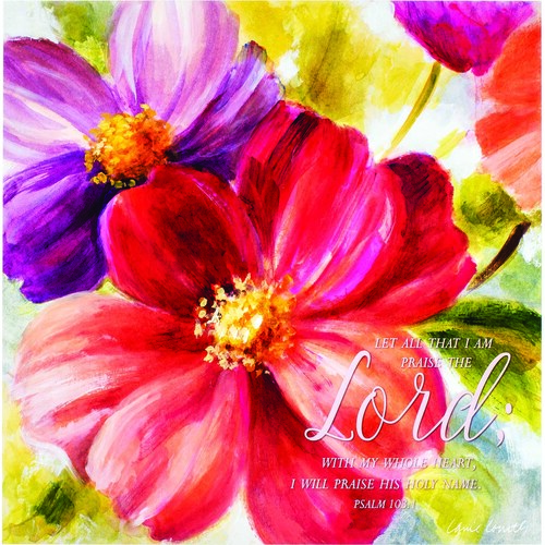 """20"""" Red and Purple Floral Bible Quote Square Wall Plaque - IMAGE 1"""