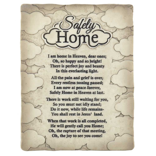 """8.75"""" Cream White """"Safely Home"""" Rectangular Wall Plaque - IMAGE 1"""