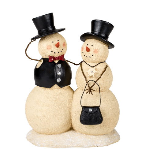 """10"""" Beige and Black Couple Snowman Figurine Tabletop - IMAGE 1"""