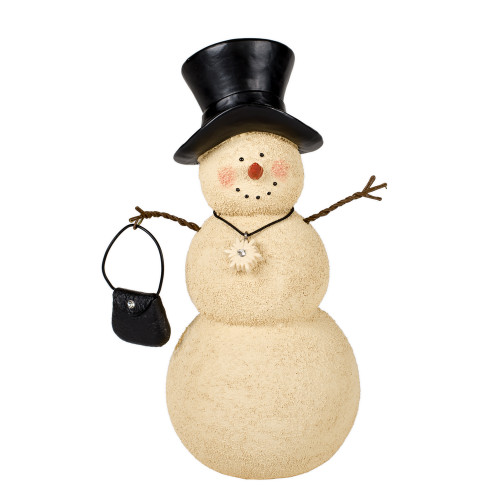 "8"" Beige and Black Snowman with Handbag Figurine Decor - IMAGE 1"