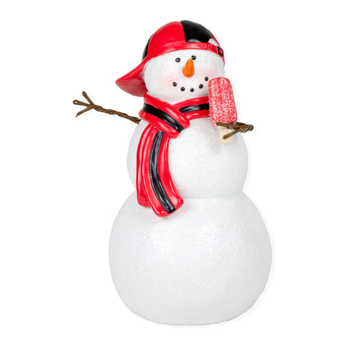 "5.25"" White and Red Snowman Boy with Cap Tabletop Figurine - IMAGE 1"