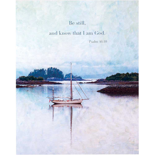 """20"""" Blue and Brown """"Be still and know that I am God"""" Rectangular Wall Plaque - IMAGE 1"""