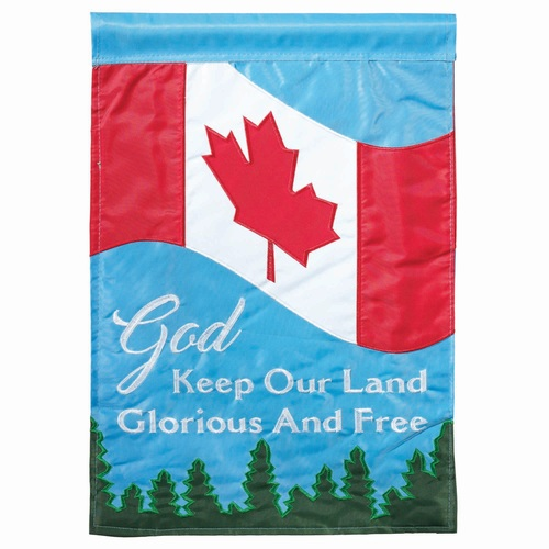 "God Keep Our Land Free Canadian Garden Flag 18"" x 13"" - IMAGE 1"