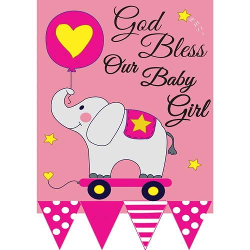 """Pink Bless Our Baby Girl Garden Flag with Elephant 18"""" x 13"""" - IMAGE 1"""
