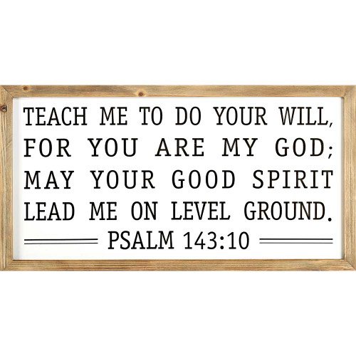 """36"""" White and Brown Bible Quote Rectangular Wall Plaque - IMAGE 1"""