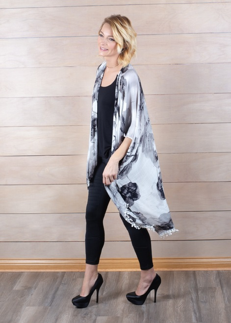"44"" White Grey Black Medium Length Floral Fringe Cardigan - IMAGE 1"