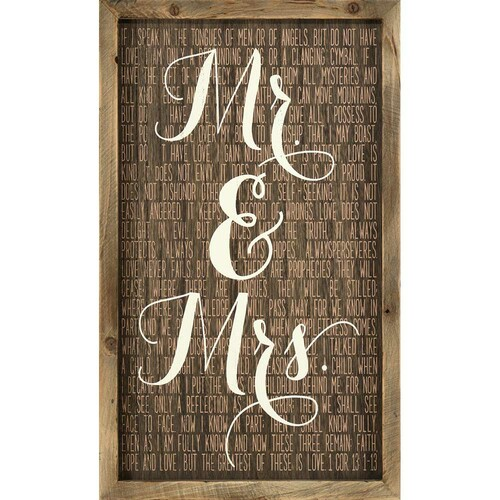 """15.75"""" Brown and White Mr. and Mrs. Rectangular Wall Plaque - IMAGE 1"""