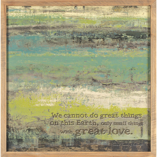 """Brown and Green Contemporary Framed Wall Art Decor 16"""" x 16"""" - IMAGE 1"""