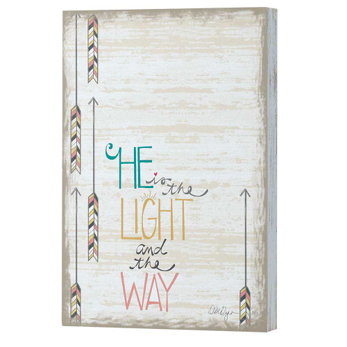 """12"""" White and Black """"He is the LIGHT and the WAY"""" Rectangular Wall Plaque - IMAGE 1"""