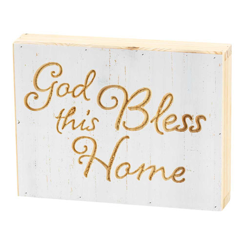 """8"""" White and Beige """"God Bless this Home"""" Tabletop Plaque - IMAGE 1"""