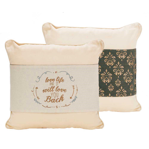 """36"""" Brown and Silver """"Love Life"""" Reversible Pillow Jacket - IMAGE 1"""