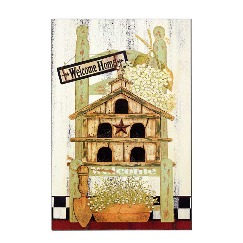 """18"""" Green and White Garden Chair Themed Rectangular Wall Plaque - IMAGE 1"""