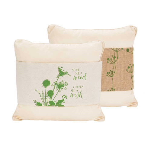 White and Green Some See A Weed Others See A Wish Burlap Fabric Pillow Jacket 36 x 8 - IMAGE 1