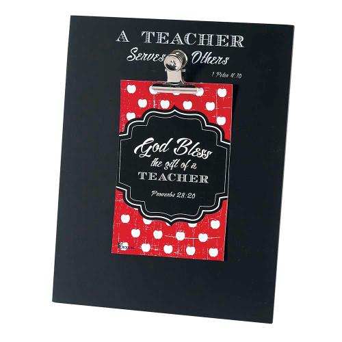 "7"" Black and Red Polka Dot Chalkboard Clip Photo Frame - IMAGE 1"
