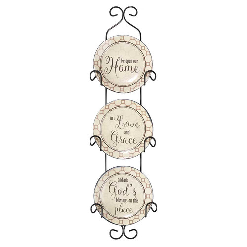 """18"""" Brown """"We Open Our Home In Love"""" Wall Plate Set - IMAGE 1"""
