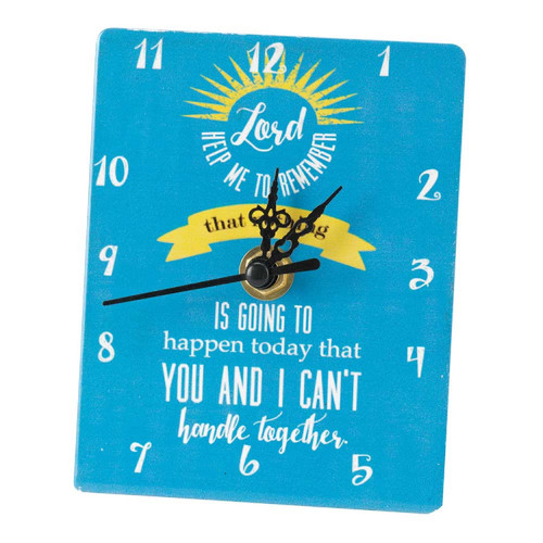 """4.5""""  Blue and White """"Lord Help Me Remember"""" Tabletop Clock - IMAGE 1"""