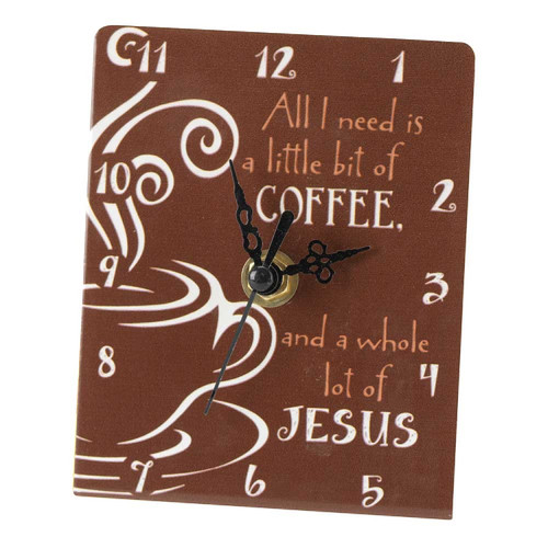 """4.5""""  Brown and White """"All I Need"""" Tabletop Clock - IMAGE 1"""
