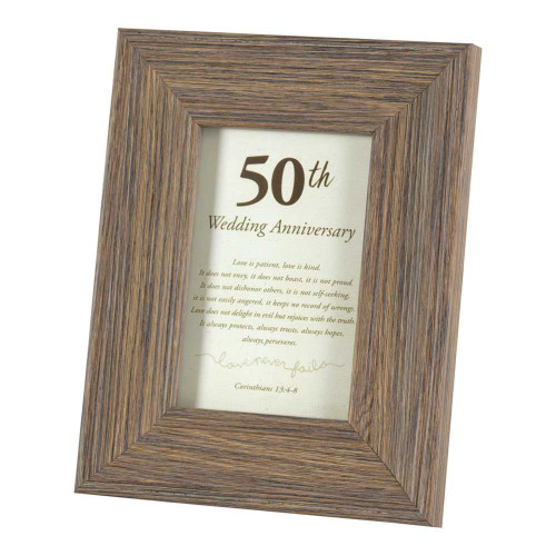 """9"""" White and Brown """"50th Wedding Anniversary"""" Wishes Printed Photo Frame - IMAGE 1"""