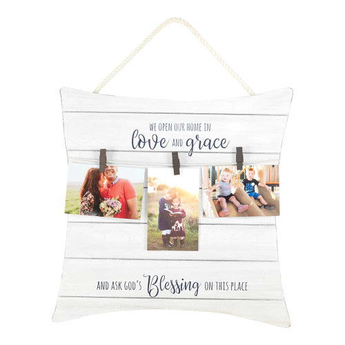"""19"""" Black and White """"love and grace"""" Printed Square Photo Board - IMAGE 1"""