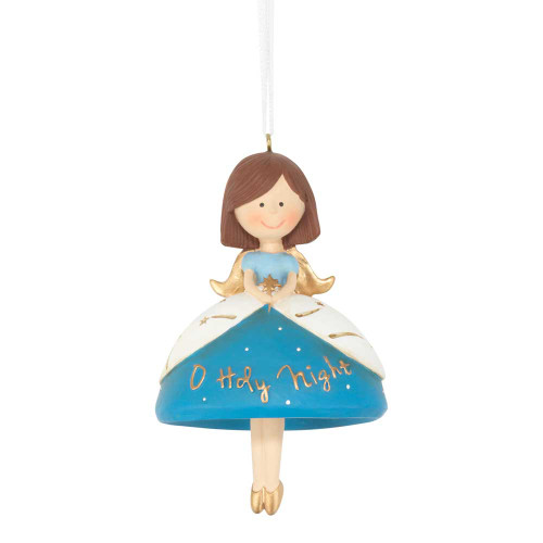 """Pack of 3 Silver Colored and Blue Christmas Angel with Dangle Legs Hanging Ornaments 4"""" - IMAGE 1"""