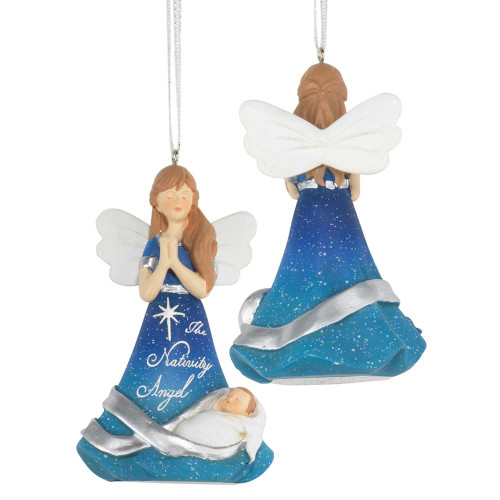 """3.75"""" Blue and White Angel and Baby Jesus Christmas ornament - IMAGE 1"""