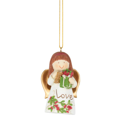 "2.5"" White and Green Angel with Gift Box Christmas Ornament - IMAGE 1"