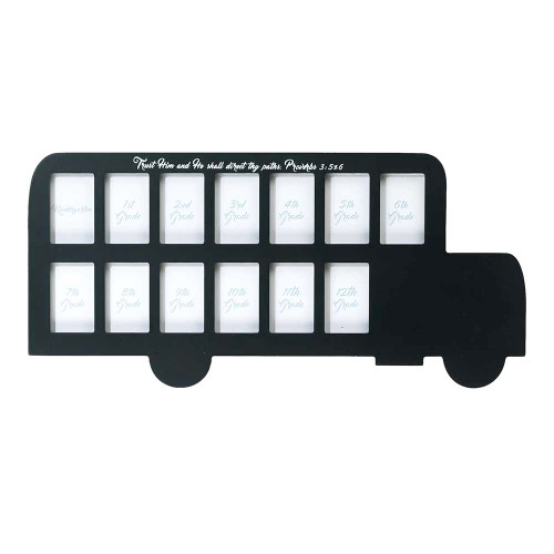 """19"""" Black and White Bus Shaped Photo Frame Tabletop - IMAGE 1"""
