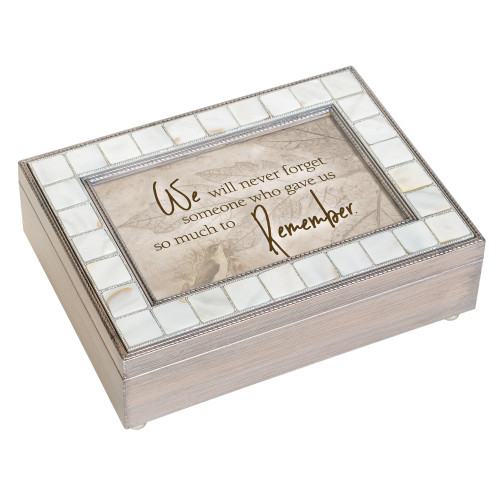 "8"" White and Gray Distressed Finish Memory Music Box - IMAGE 1"