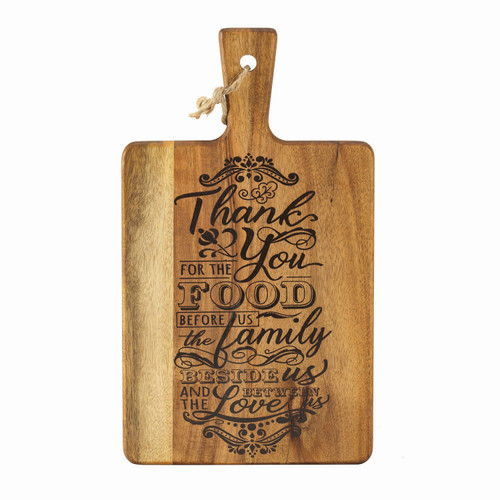 """8"""" Acacia Wood """"Thank You for the Food"""" Cutting Board with Handle - IMAGE 1"""