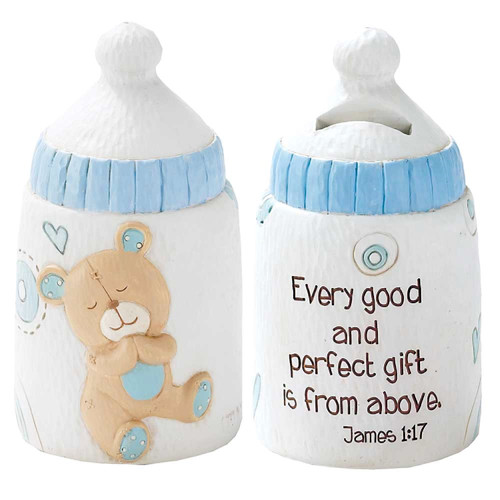 """5.5"""" Blue and White Baby Bottle Bear Religious Children's Coin Bank - IMAGE 1"""