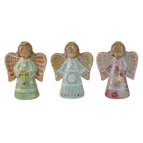 """Set of 3 Glitter Dusted Gingerbread Christmas Angels 6"""" - IMAGE 1"""