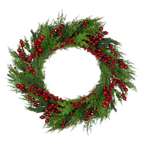 Mixed Pine and Berries Artificial Christmas Wreath - 26 inch, Unlit - IMAGE 1