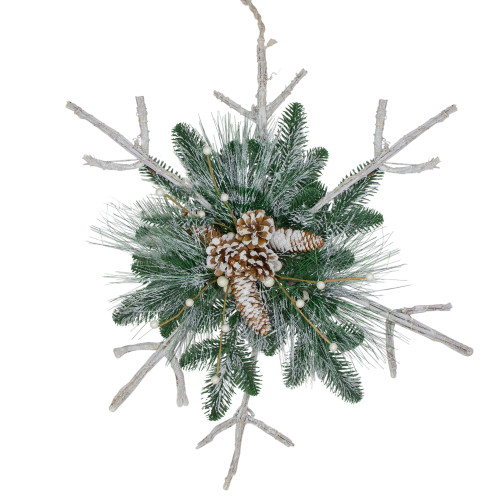 """24"""" Green and Winter White Frosted Mixed Pine Twig Snowflake Christmas Ornament - IMAGE 1"""