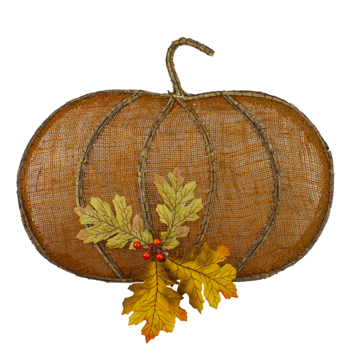"19"" Orange Burlap and Vine Pumpkin Fall Harvest Wall Hanging - IMAGE 1"